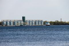 Granaries for storing cereal grains on river Dnieper. Ukraine Stock Image