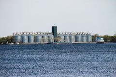 Granaries for storing cereal grains on river Dnieper. Ukraine Royalty Free Stock Image