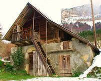 Granary. Old wooden granary with a cellar in chartreuse in french alps Stock Photography