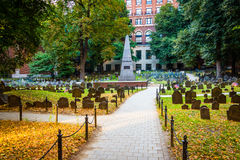 Granary Burying Ground, in Boston, Massachusetts. Royalty Free Stock Photo
