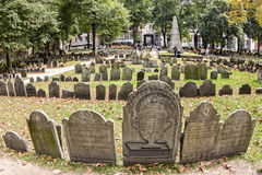 Granary Burying Ground. The famous Granary Burying Ground in Boston, Massachusetts, USA that showcase the remains of James Otis and Paul Revere stock image