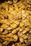 Granary filled with corn cobs Stock Photo