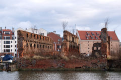 Granary island with old brick ruins before reconstruction. Stock Images
