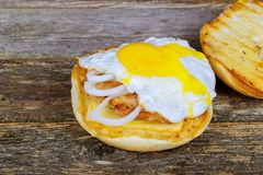 Some Fried Eggs on Sandwich Granary roll with fried egg. Granary roll with fried egg. Some Fried Eggs on a Sandwich Royalty Free Stock Photos
