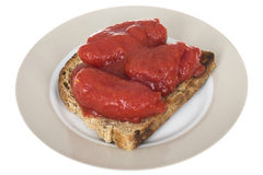 Granary Toast Topped with Tinned Tomatoes Stock Photos