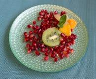 Granatäpple med stycken av kiwin, mandarinen och grapefrukten, med en mintkaramellbladbrytning royaltyfria bilder