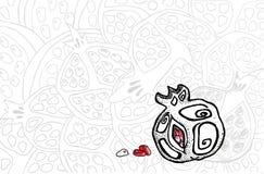 Granatäpplefrukt i grafisk stil, hand-teckning Design av baner, bakgrunder, affischer, menyer, etiketter royaltyfri illustrationer