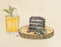 Granatäpplekaka med drinken Arkivbilder
