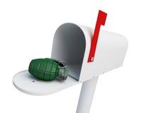 Granat i brevlådan på en vit illustration för bakgrund 3D Arkivfoto