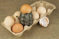 Granata a mano - un uovo Granata fra le uova Uova esplosive, immagine divertente Uova casalinghe del pollo Fotografia Stock