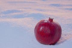 Granatapfel auf Schnee Stockfoto