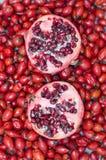 Granatapfel der Hagebuttenbeeren und zwei Hälften Lizenzfreie Stockfotos