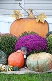 Granatapfel, Trauben und Kastanie auf Holz im Oktober