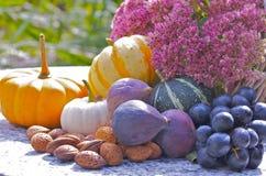 Granatapfel, Trauben und Kastanie auf Holz im Oktober lizenzfreie stockfotos
