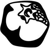 Granatapfelfruchtschattenbild lokalisiert auf weißer Hintergrundvektorillustration lizenzfreie abbildung