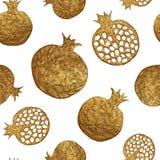 Granatapfelhand, die nahtloses Muster malt Goldabstrakter Fruchthintergrund Stockfotografie
