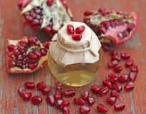 Granatowa nasieniodajny olej w butelce na czerwonym drewnianym tle Obraz Royalty Free