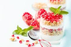 Granatowa parfait - słodki organicznie płatowaty deser z granola płatkami, jogurtem i czerwonymi dojrzałymi owoc ziarnami, zdjęcia stock