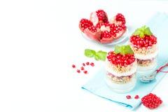 Granatowa parfait - słodki organicznie płatowaty deser z granola płatkami, jogurtem i dojrzałymi owocowymi ziarnami, zdjęcia stock