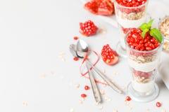 Granatowa parfait - słodki organicznie płatowaty deser z granola płatkami, jogurtem i dojrzałymi owocowymi ziarnami, zdjęcia royalty free