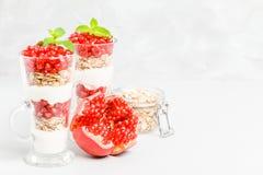 Granatowa parfait - słodki organicznie płatowaty deser z granola płatkami, jogurtem i dojrzałymi owocowymi ziarnami, zdjęcie stock