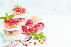 Granatowa parfait - słodki organicznie płatowaty deser z granola płatkami, jogurtem i dojrzałymi owocowymi ziarnami, obrazy stock