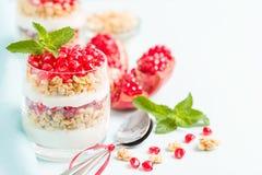 Granatowa parfait - słodki organicznie płatowaty deser z granola płatkami, jogurtem i dojrzałymi owocowymi ziarnami, fotografia royalty free