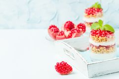 Granatowa parfait - słodki organicznie płatowaty deser z granola płatkami, jogurtem i dojrzałymi owocowymi ziarnami, obraz royalty free