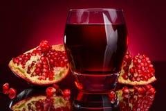 Granatowiec owoc i sok Zdjęcie Royalty Free