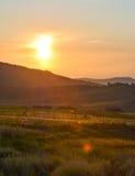 Granby sommarsolnedgång Arkivbild