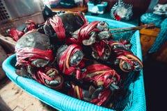 Granchi nel mercato ittico Fotografia Stock