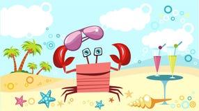 granchio alla spiaggia illustrazione vettoriale