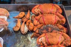Granchio bollito o cotto a vapore al mercato tailandese dei frutti di mare Immagine Stock Libera da Diritti