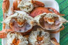 Granchio bollito o cotto a vapore del fiore al mercato dei frutti di mare Immagine Stock Libera da Diritti