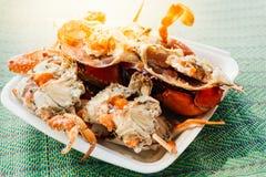 Granchio bollito o cotto a vapore del fiore al mercato dei frutti di mare Fotografia Stock