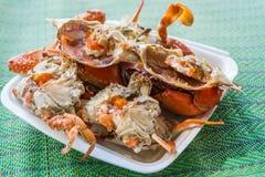 Granchio bollito o cotto a vapore del fiore al mercato dei frutti di mare Immagini Stock Libere da Diritti