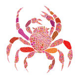 Granchio colorato nello stile dello zentangle Fotografia Stock