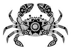 Granchio disegnato a mano dello zentangle per il libro da colorare per l'adulto, tatuaggio, progettazione della camicia, logo ecc illustrazione di stock