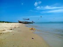 Granchio e barca sulla spiaggia immagini stock libere da diritti