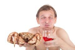 Granchio e vino Fotografia Stock