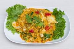 Granchio fritto con la polvere di curry Fotografia Stock