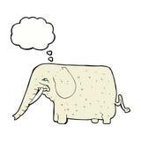 grand éléphant de bande dessinée avec la bulle de pensée Images stock