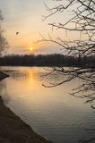 Grand étang de Novodevichy sur le coucher du soleil en premier ressort moscou Photo stock