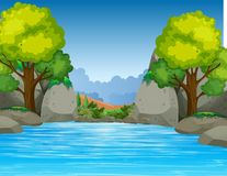 Grand étang en belle vallée illustration de vecteur