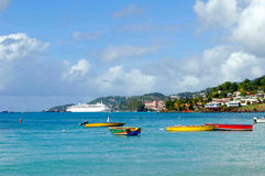 Grand Anse beach. Boats in Grand Anse beach in Grenada Royalty Free Stock Photography