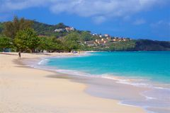 Grand Anse beach in Grenada, Caribbean. Panorama of Grand Anse beach in Grenada, Caribbean Royalty Free Stock Images