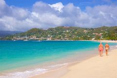 Grand Anse beach in Grenada, Caribbean. Panorama of Grand Anse beach in Grenada, Caribbean Stock Image