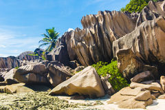 Grand Anse. Beautifully shaped granite boulders and a perfect white sand at Grand Anse, La Digue island, Seychelles Stock Photo