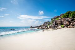 Grand anse. In La Digue, Seychelles Stock Images