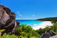Grand Anse on La Digue island in Seychelles Stock Photos